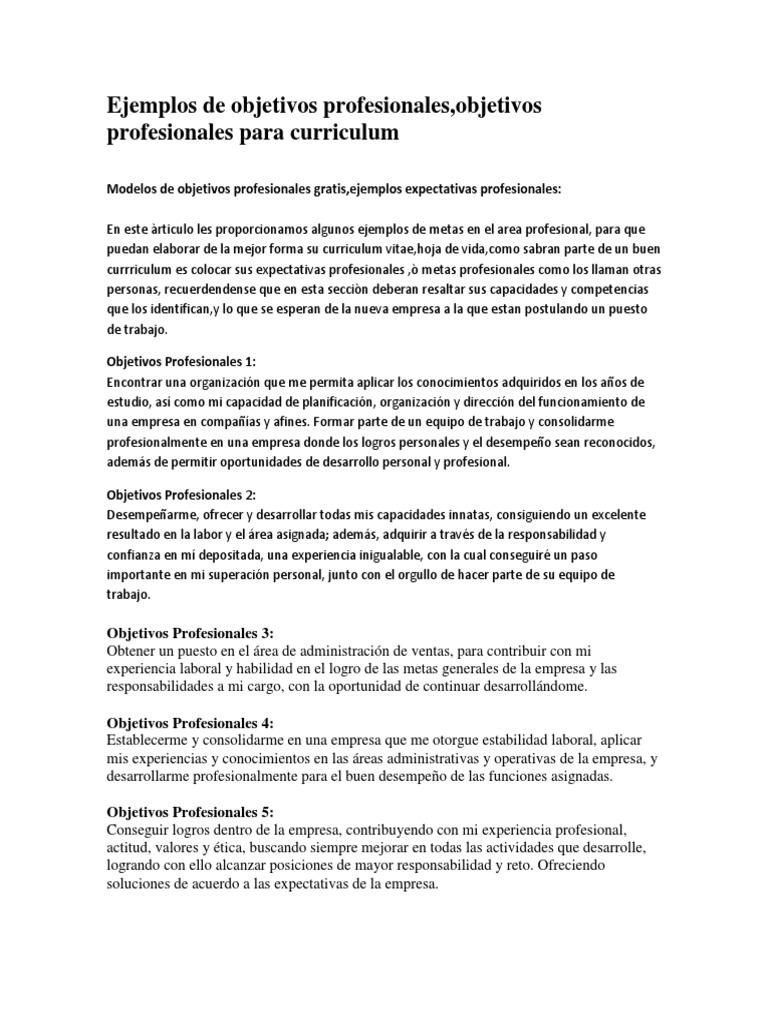 Vistoso Ejemplos De Currículum Objetivo Imagen - Ejemplos de ...