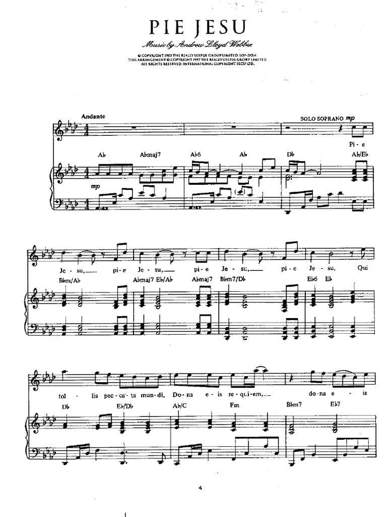 free sheet music pie jesu andrew lloyd webber