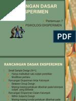 Psikologi Eksperimen Rancangan Eksperimen