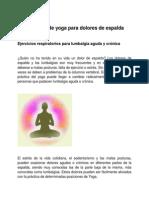 Consejos de Yoga Para Dolores de Espalda