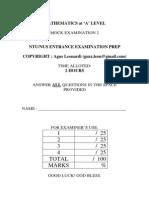 NUS-NTU Entrance Exam Prep Sample 2 Maths