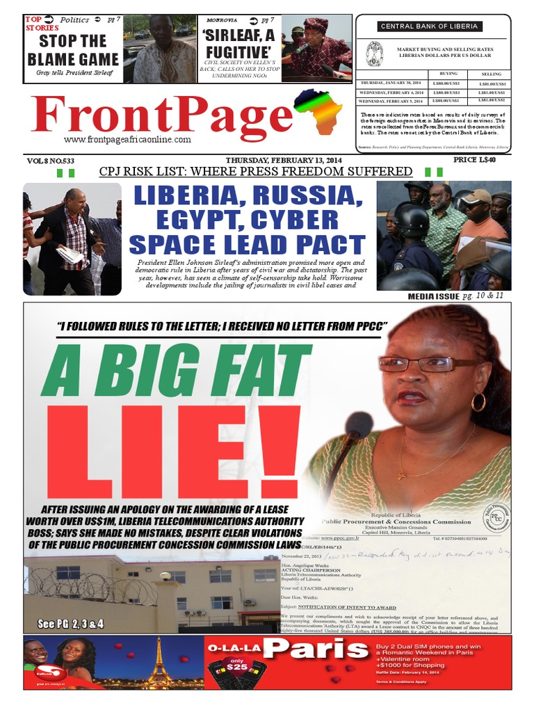 Thursday, February 13, 2014 Edition | Capitalism | Liberia