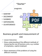 Business Growth and Measurement of Size