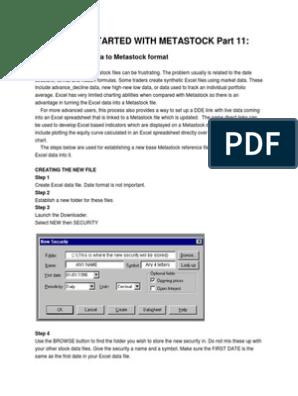 Converting Excel to METASTOCK | Microsoft Excel | Comma