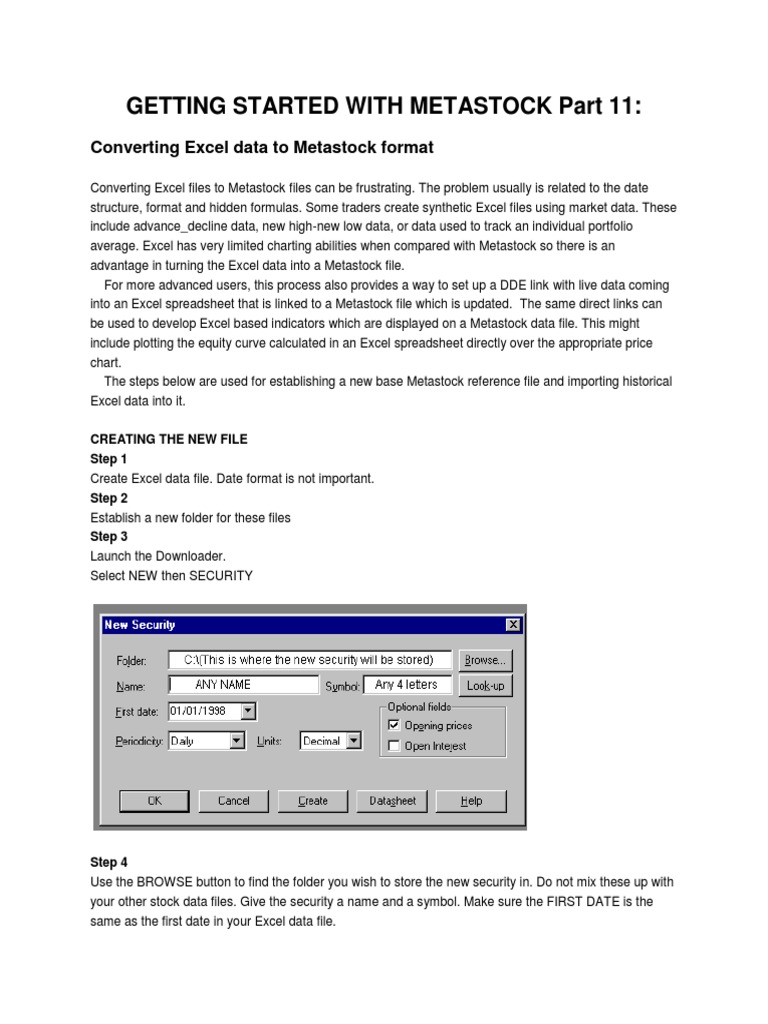 Converting Excel to METASTOCK   Comma Separated Values   Computer File