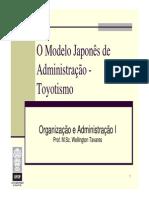 O&A I - Aula 5 - O Modelo Japonês de Administração - Toyotismo(1)