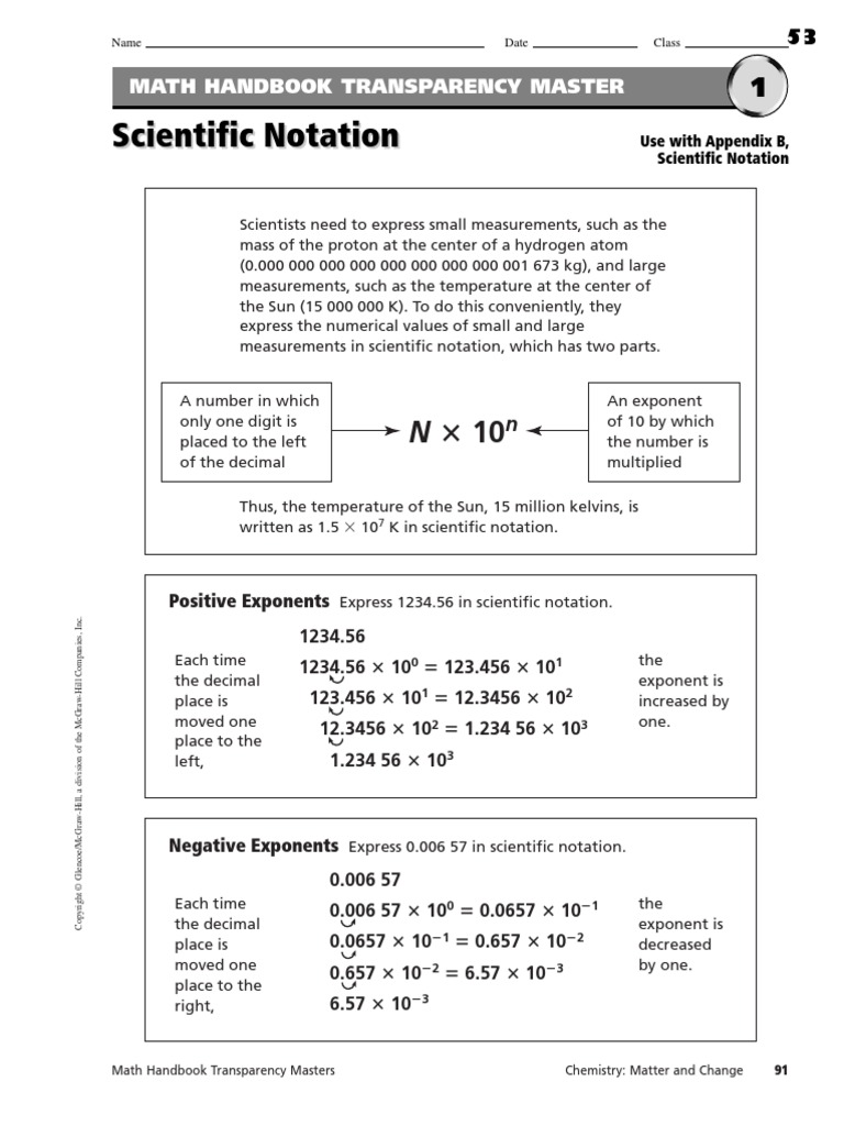 Scientific Notation Worksheets Multiplication Exponentiation