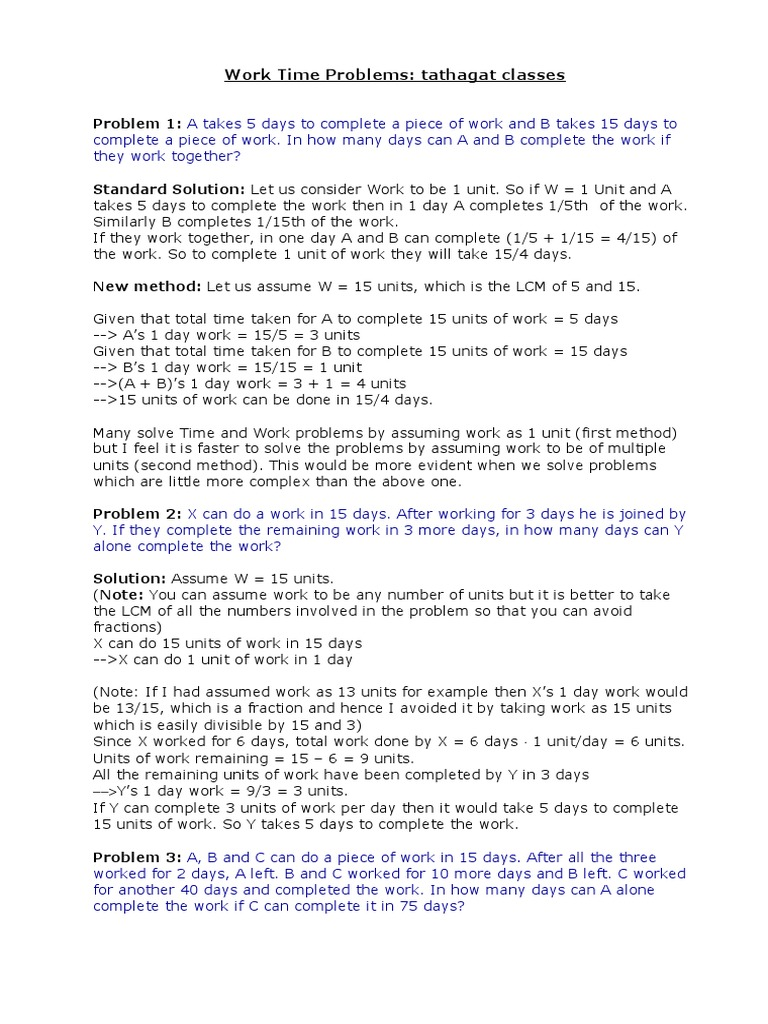 Problems On Time And Work Fraction (mathematics) Physics & Mathematics  Algebra 2 Solving Bypletingpletingpleting The Square To