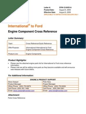 Ford IH Parts Interchange | Piston | Cylinder (Engine)