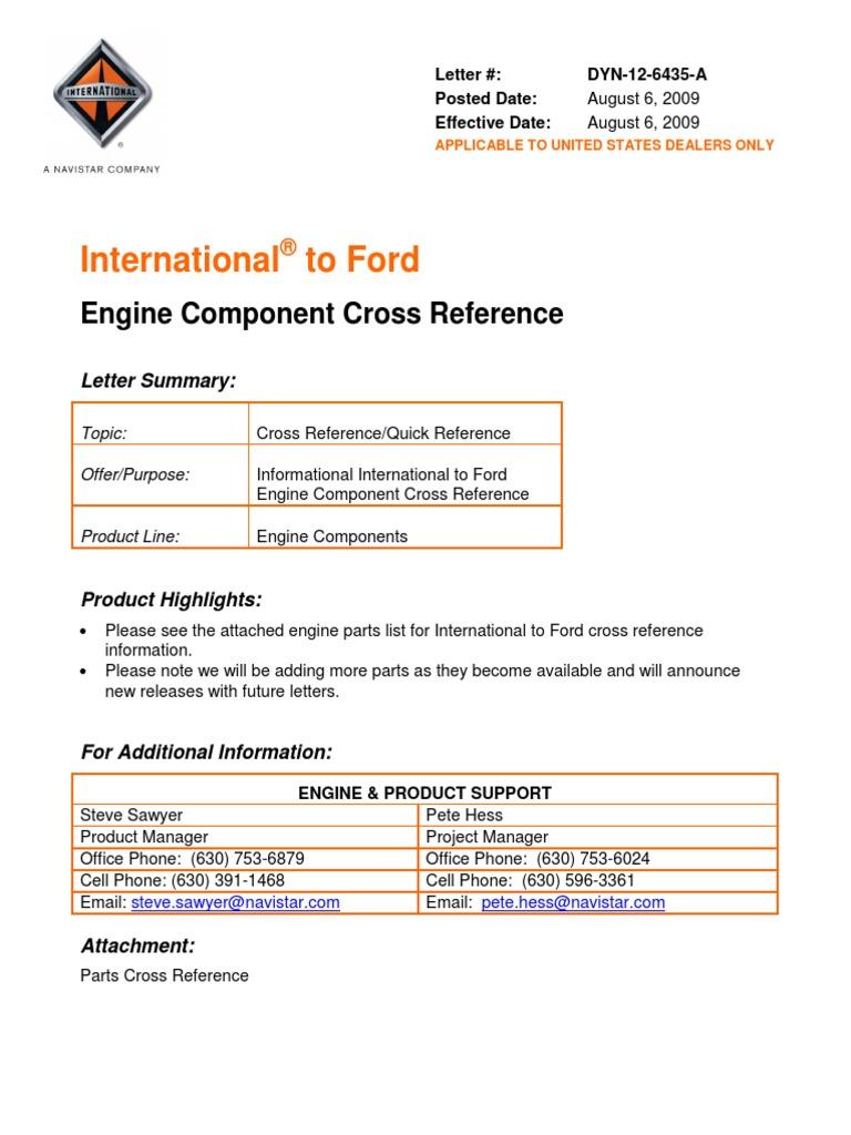 Ford IH Parts Interchange   Piston   Cylinder (Engine)