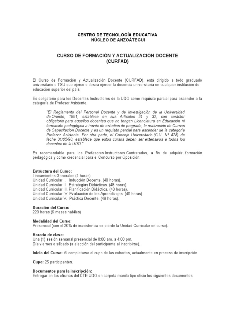 Informacion CURFAD Prensa