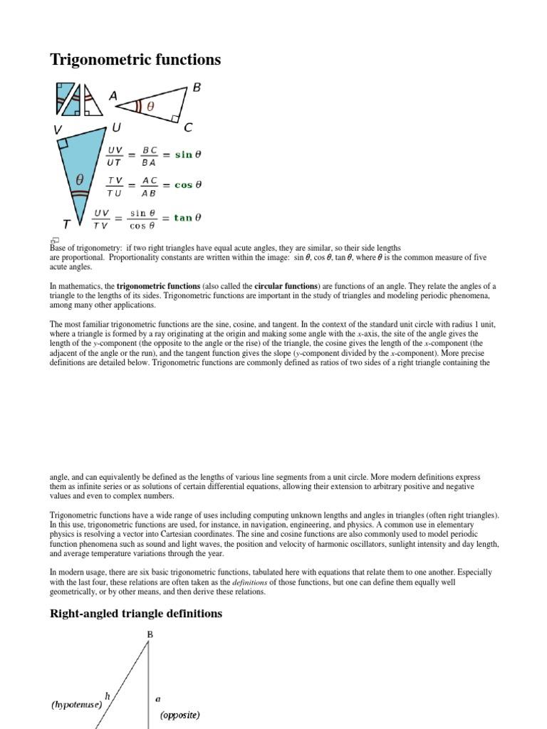 Trigonometric functions 2 docx | Trigonometric Functions | Sine