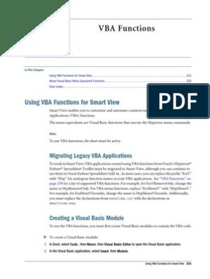 Smart View Macro Fuctions | Microsoft Excel | Parameter