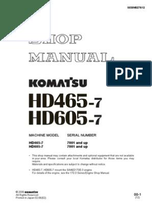 HD465 7 Shop Manual SN 7001 Up | Screw | Mechanical Engineering