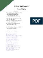 Kipling - I Keep Six Honest