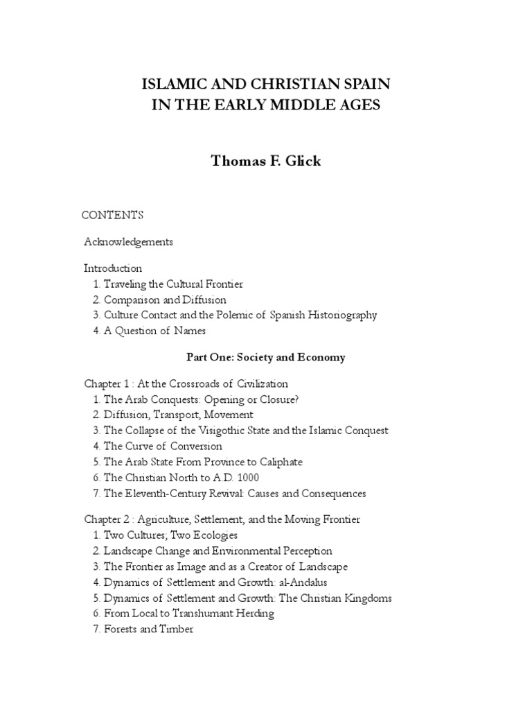 Thomas F. Glick, Islamic and Christian Spain in the Early Middle ...