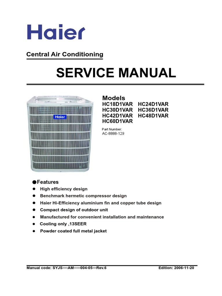 Haier Split System AC-D1VAR Service Manual | Air Conditioning | Duct (Flow)