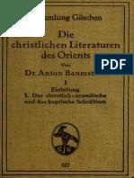 Baumstark, Die Christlichen Literaturen Des Orients Bd. 1