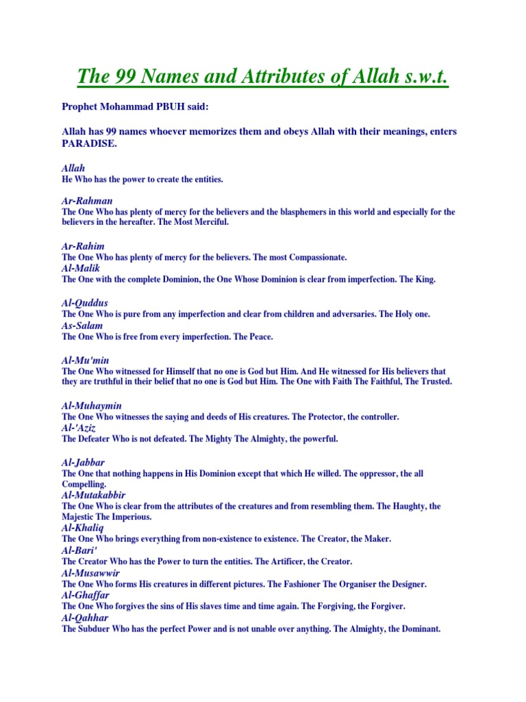 The 99 Names And Attributes Of Allah S