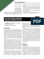 IonEchangeResins Characterization
