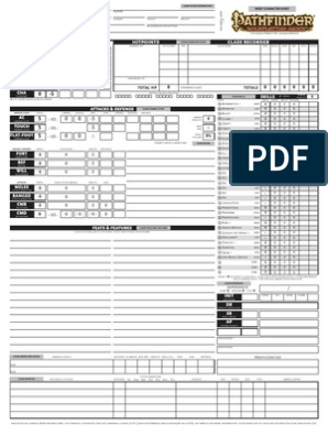 picture relating to Pathfinder Printable Spell List named Customized Pathfinder Temperament Sheet