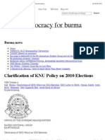 """""""Clarification of KNU Policy on 2010 Elections"""