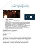 Hearings of the Commission to Inquire Into the Complaints Regarding Missing Persons