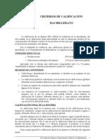 CRITERIOS DE CALIFICACIÓN PARA BACHILLERATO