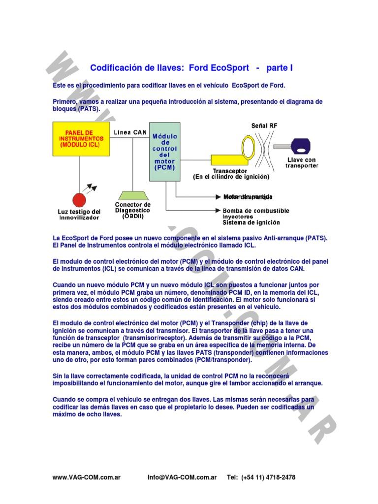 011 Codificacion Llave Ford Ecosport