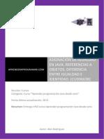CU00663B Equals Diferencias Igualdad Identidad Java Referencias Objetos