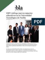 27-05-2013 Puebla on Line - RMV entrega nuevos espacios educativos en la Universidad Tecnológica de Puebla.pdf