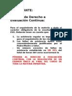 Perdida Del Derecho a Evaluacion Continua.