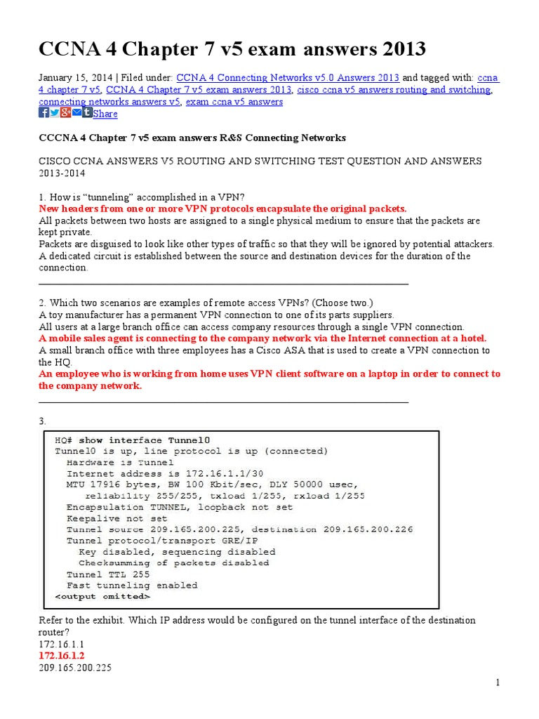 CCNA 4 Chapter 7 v5 Exam Answers 2013 | Virtual Private Network | Internet  Protocols