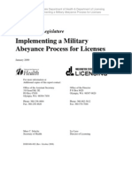 Report to Leg Re Abeyance for Licenses Military Service 01-09