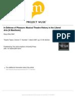 In Defense of Pleasure- Musical Theatre History in the Liberal Arts [a Manifesto]