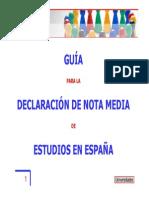 2009 Guia Para Declaracion Nota Media Espana