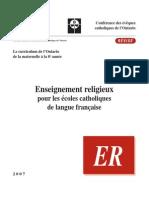 Programme Cadre, Reference Catholique