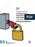 Guidance on the Management of Electrical Safety and Safe Isolation Procedures for Low Voltage Installations
