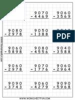 4D R Subtraction WS 1