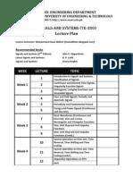 SnS Lecture Plan