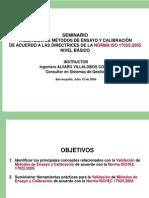 Seminario Validación de Métodos de Ensayo 17025 - Básico