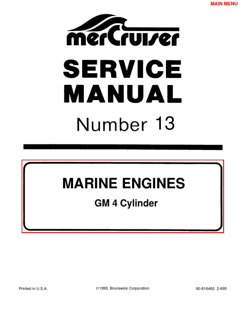 mercruiser manual gm 4 cylinder gasoline ethanol rh scribd com Mercruiser Alpha One Parts 377 Mercruiser 6.2 Motor