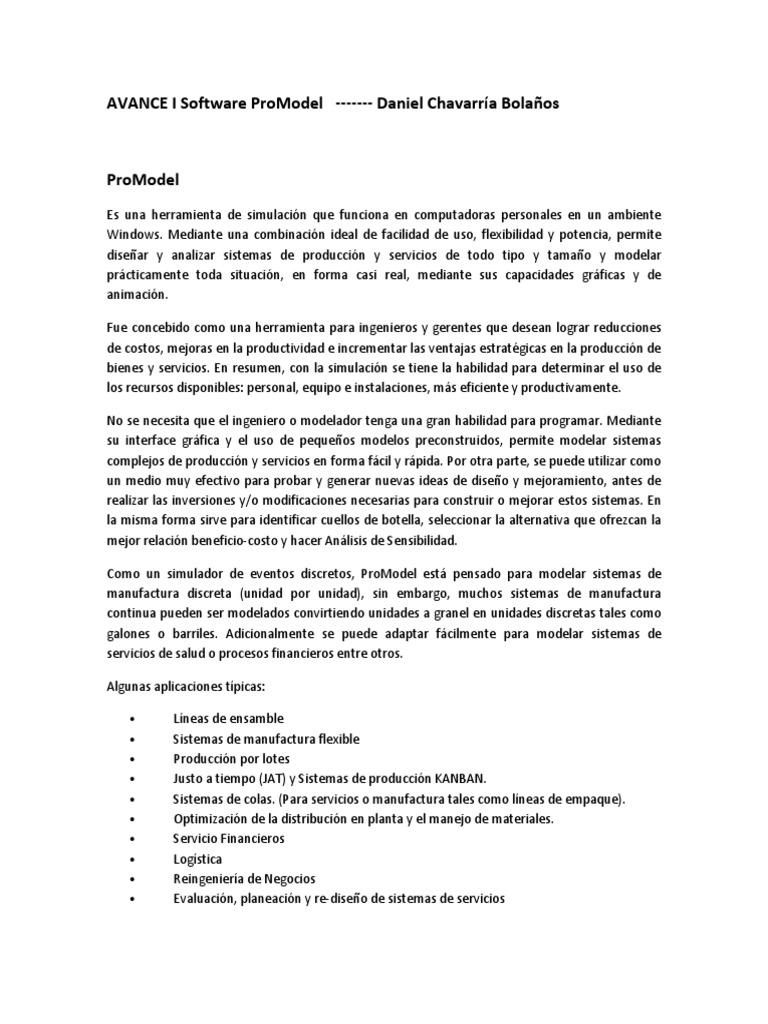 AVANCE I Software ProModel