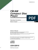 Manual de Uso Radio Sony CDXS2010