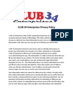 club 34 enterprises privacy policy