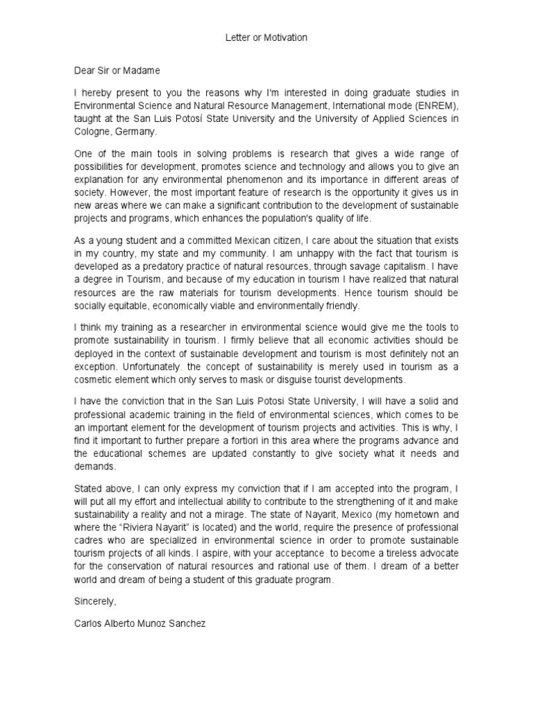 Motivation letter sustainability tourism spiritdancerdesigns Choice Image