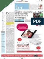 Santos promete no ceder un milímetro a Nicaragua