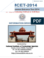 NIMCET 2014 Information Brochure