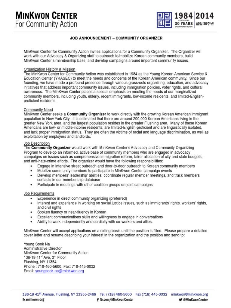 Community Organizer Job Posting | Community Organizing