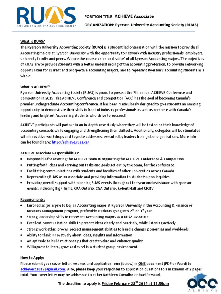 ACHIEVE Associate 2014-2015 | Résumé | Accounting